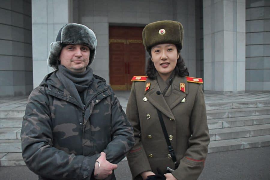 With North Korean Army Captain, Pyongyang,North Korea