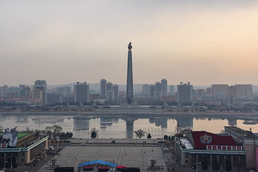 The Juche Tower and Taedong River