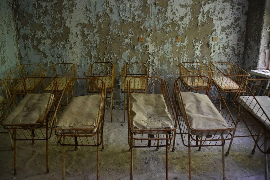 Rusting Cots in Pripyat Hospital