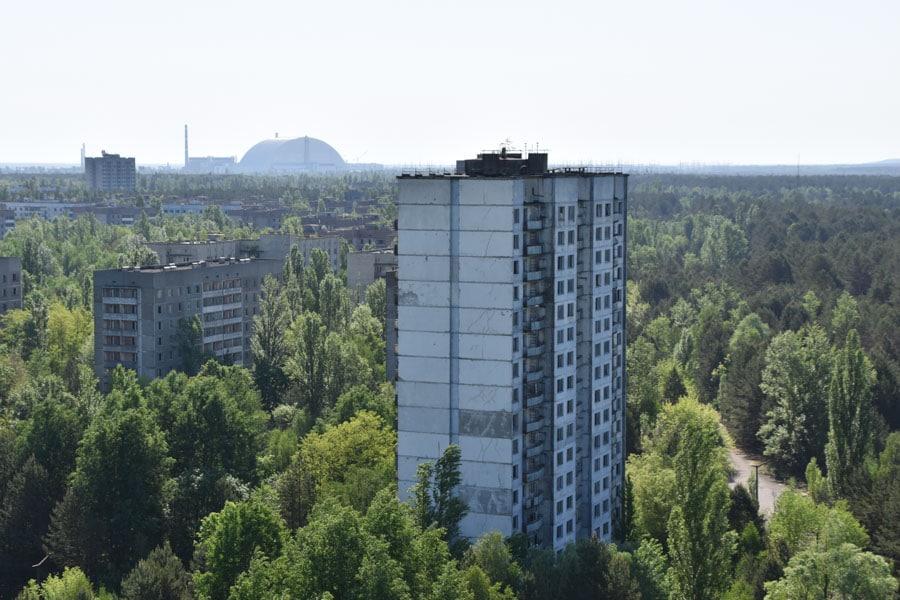 View over Pripyat to Chernobyl