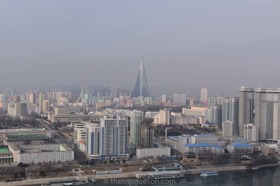 Birds eye view of Pyongyang from the Juche Tower, North Korea