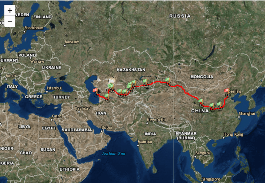 Turkmenbashi to Beijing Map of the Silk Road