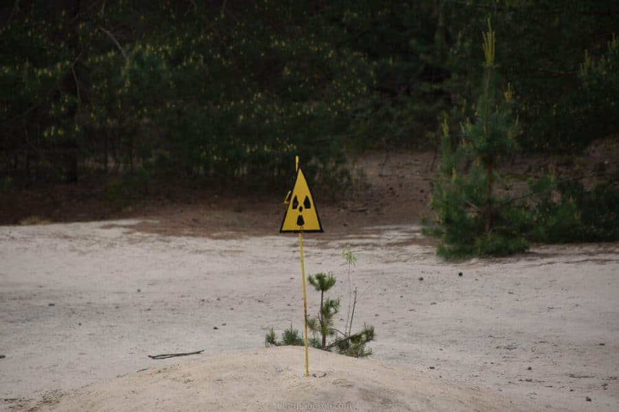 Radioactive warning sign visiting Chernobyl