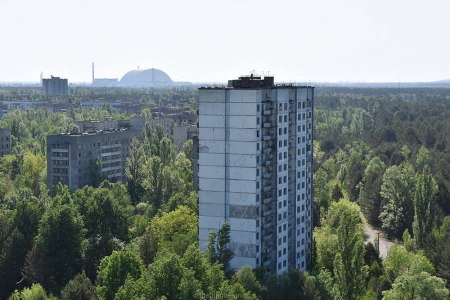 View over Pripyat to reactor number 4, Chernobyl