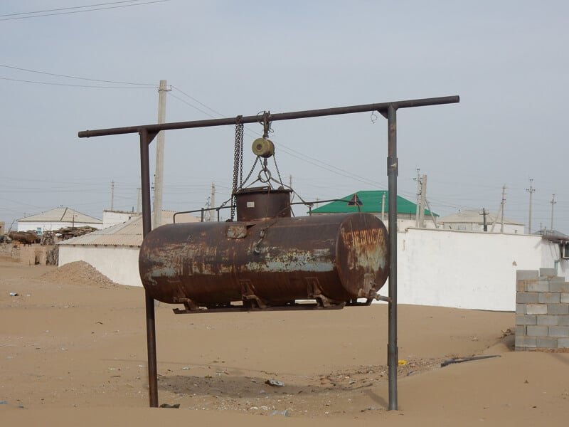 A rusting fuel tank in the desert