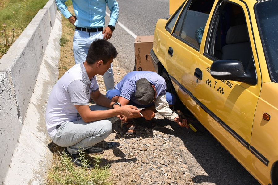 Flat tyre on the road to Termiz