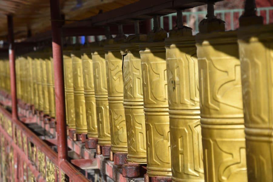 Prayer wheels in Tibet